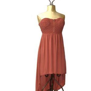 Anthropologie Poetry coral halter hi low dress